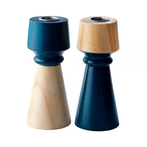 650000029 600x600 - Chân nến gỗ xanh petrol H15cm BO142359