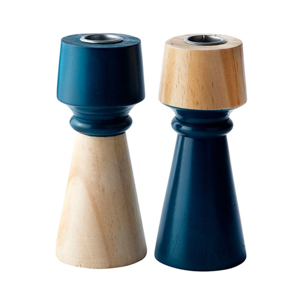 650000029 - Chân nến gỗ xanh petrol H15cm BO142359
