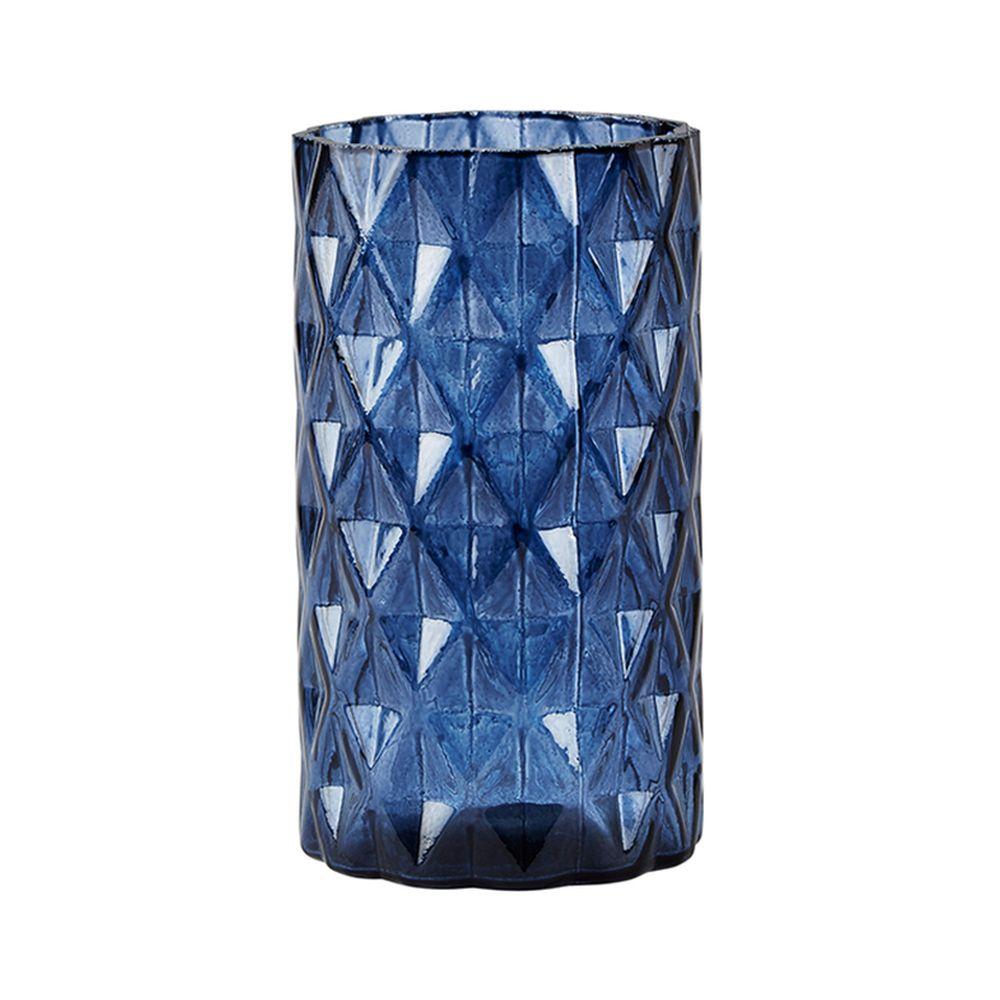 650000073 - Lọ hoa thuỷ tinh xanh H17cm BO162601