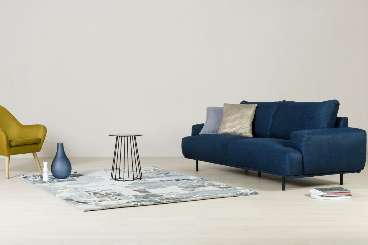 Arlington Sofa - Astro resting chair - Casia coffee side table - PAZZO Light Blue rugs