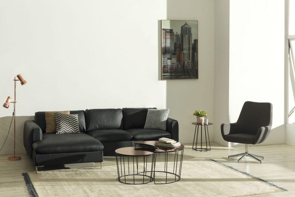 Talida 2 seater chaiselongue left Sunmoon coffee table Rylee swivel chair Casia coffee side table 1200x800 - Sofa Talida