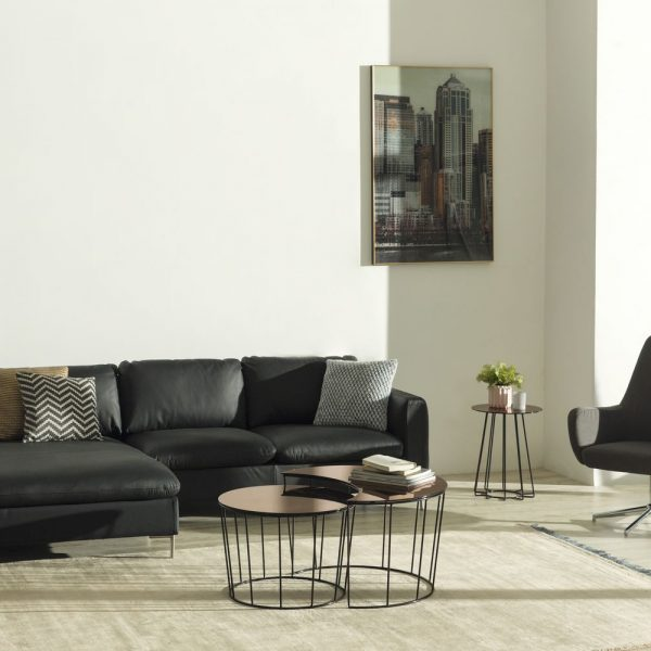 Talida 2 seater chaiselongue left Sunmoon coffee table Rylee swivel chair Casia coffee side table 600x600 - Sofa Talida