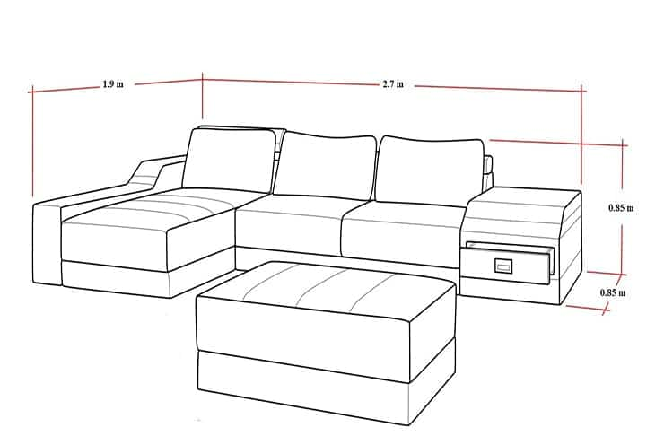 kich thuoc sofa chu l 2 min 1 - Kích Thước Ghế Sofa Chữ L Chuẩn Và Thông Dụng Là Bao Nhiêu ?