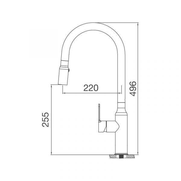 K046 S  600x600 - Vòi rửa chén K046-S