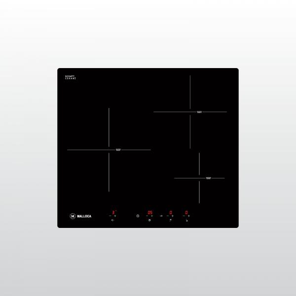 MI 593 B 600x600 - Bếp kính âm 3 từ MI 593 WN